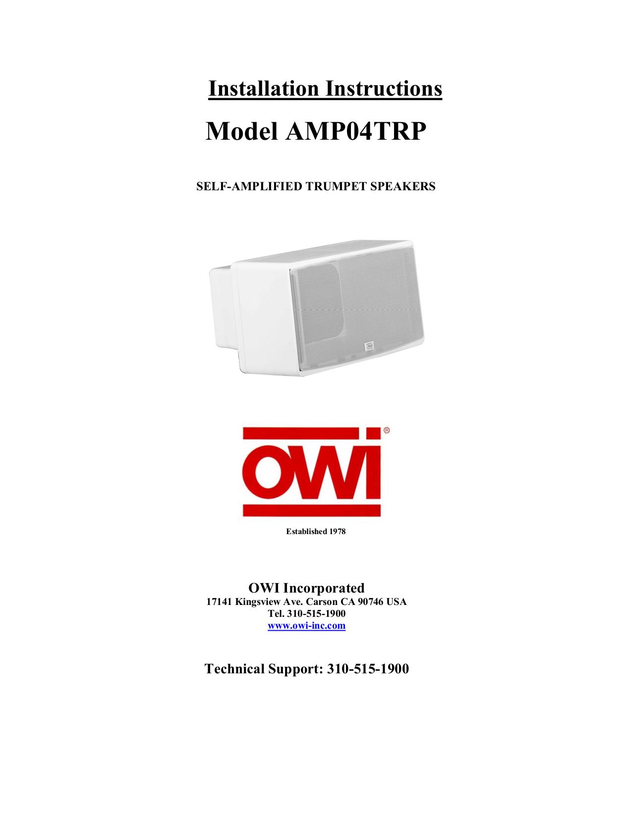 pdf for Owi Speaker TRP04 manual