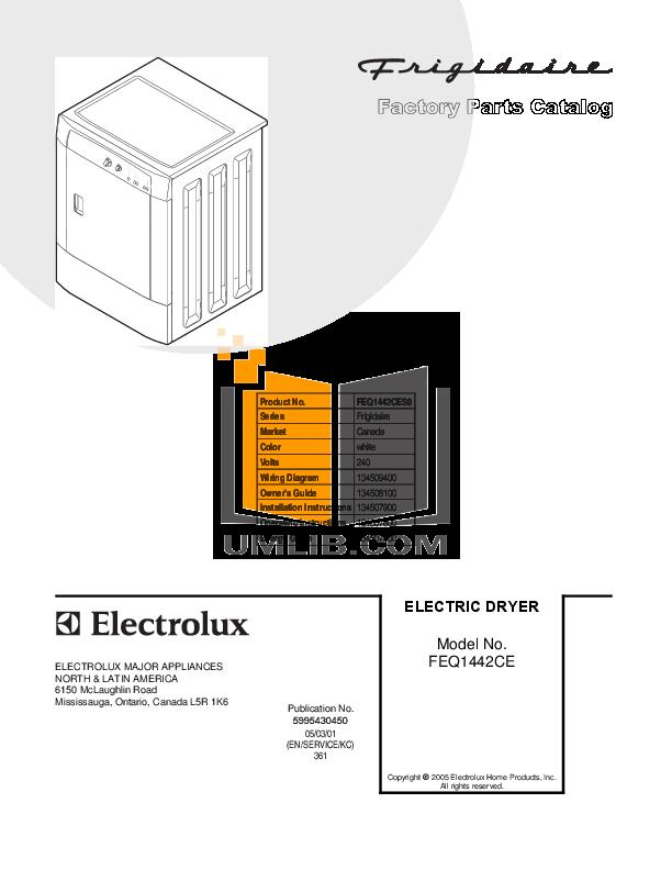 pdf for Frigidaire Dryer FEQ1442CES0 manual