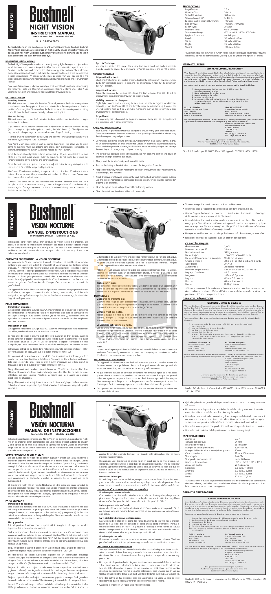 pdf for Bushnell Other 26-4202 Night Vision manual