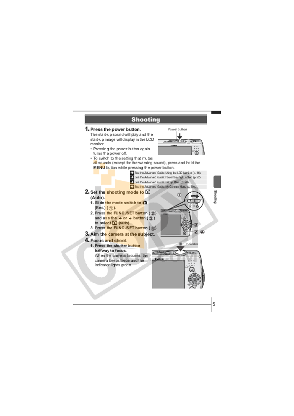 Canon Digital Camera Powershot SD630 pdf page preview