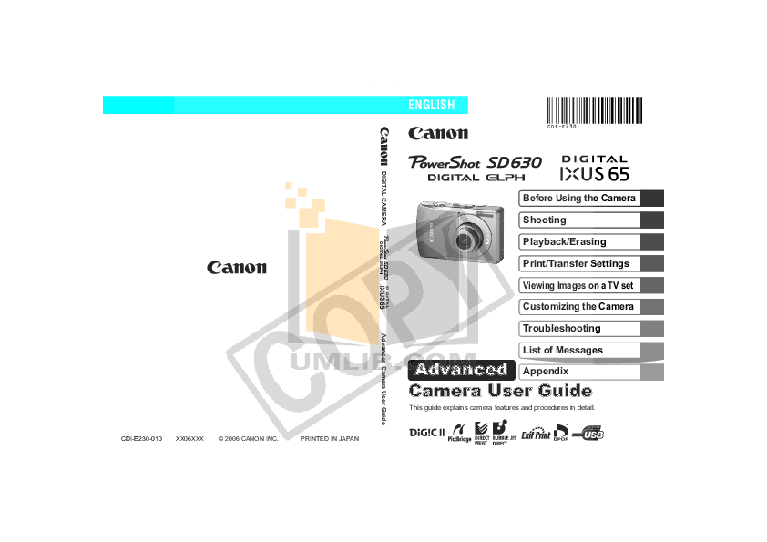 pdf for Canon Digital Camera Powershot SD630 manual