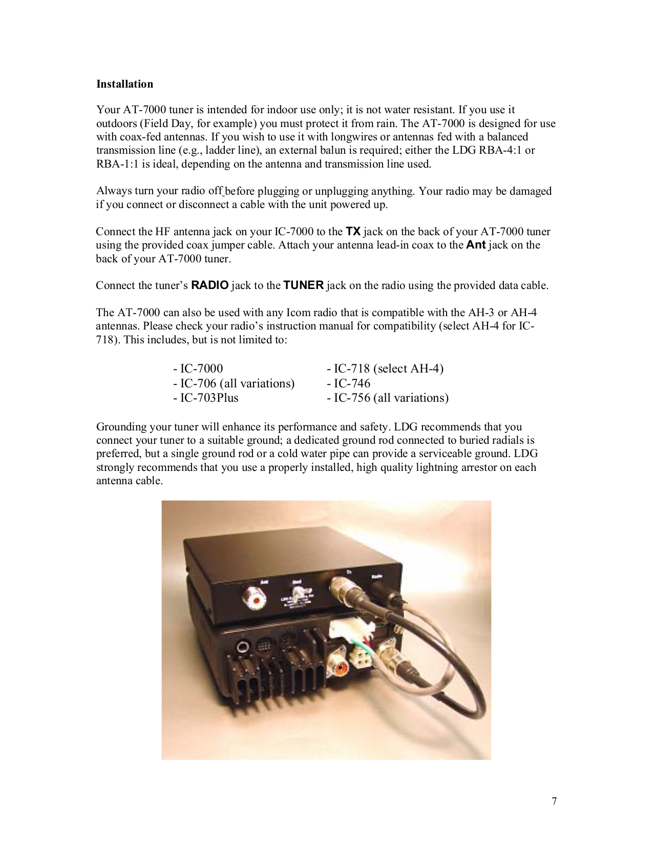 PDF manual for ICOM Other AH-4 Antenna Tuner