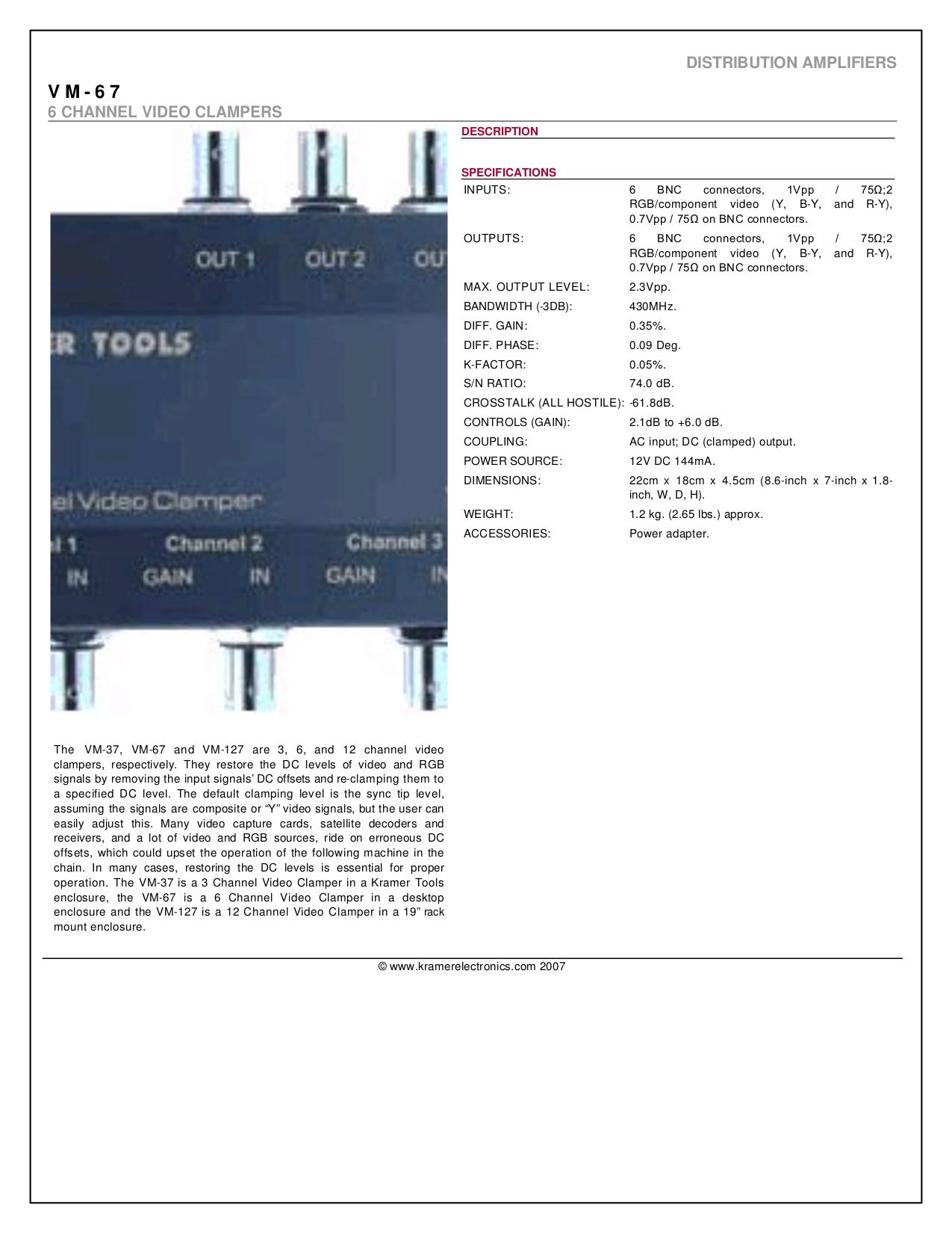 pdf for Kramer Other VM-67 Video Clampers manual