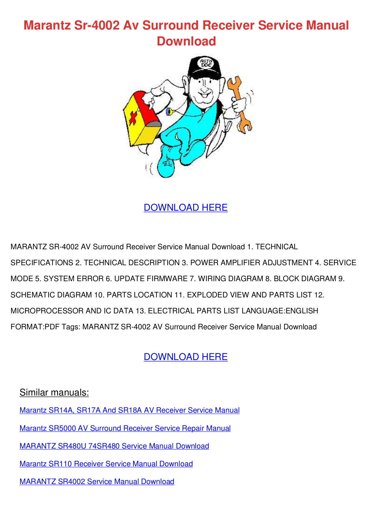 pdf for Marantz Receiver SR6001 manual