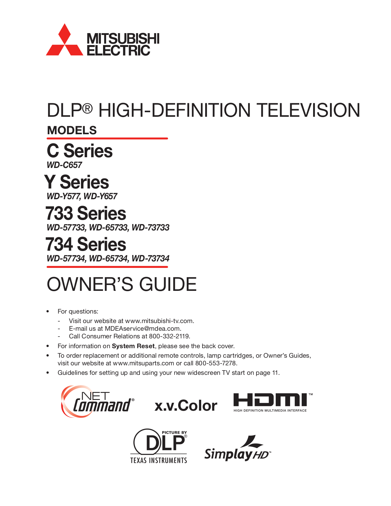 pdf for Mitsubishi TV WD-Y657 manual
