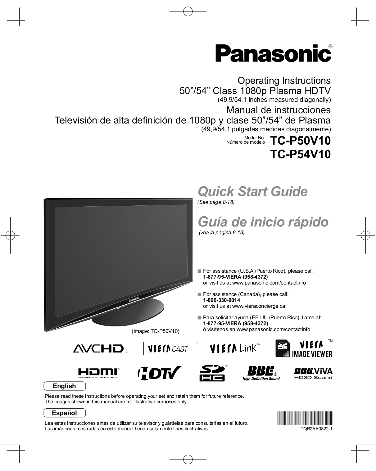 download free pdf for panasonic viera tc p50v10 tv manual. Black Bedroom Furniture Sets. Home Design Ideas