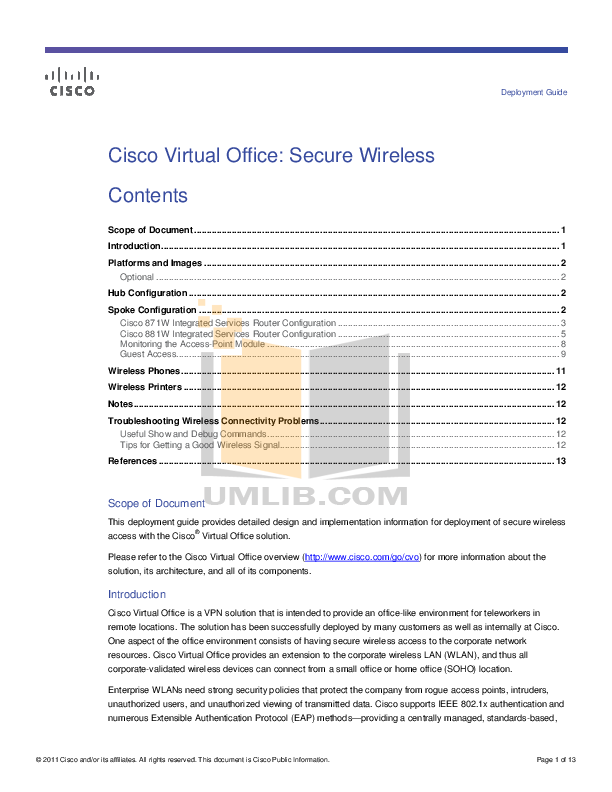 pdf for Cisco Wireless Router 871W manual