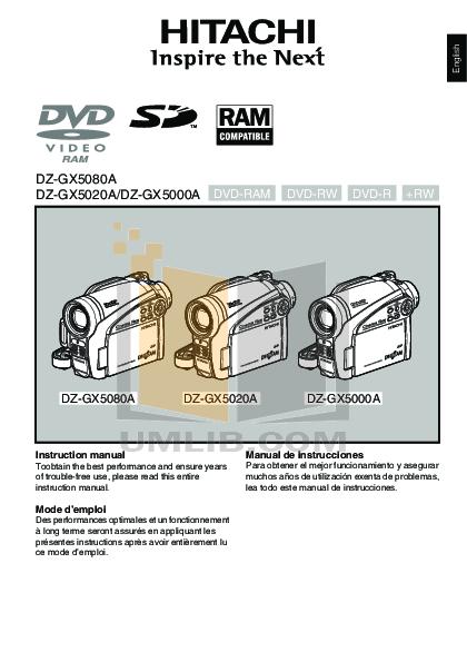 download free pdf for hitachi dz gx5020a camcorders manual rh umlib com Hitachi TV Repair Manual hitachi dvd cam dz-gx5020a manual
