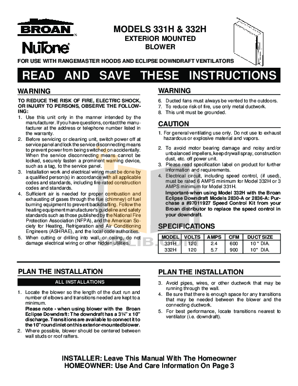 pdf for Broan-NuTone Other 332H Exterior Blowers manual