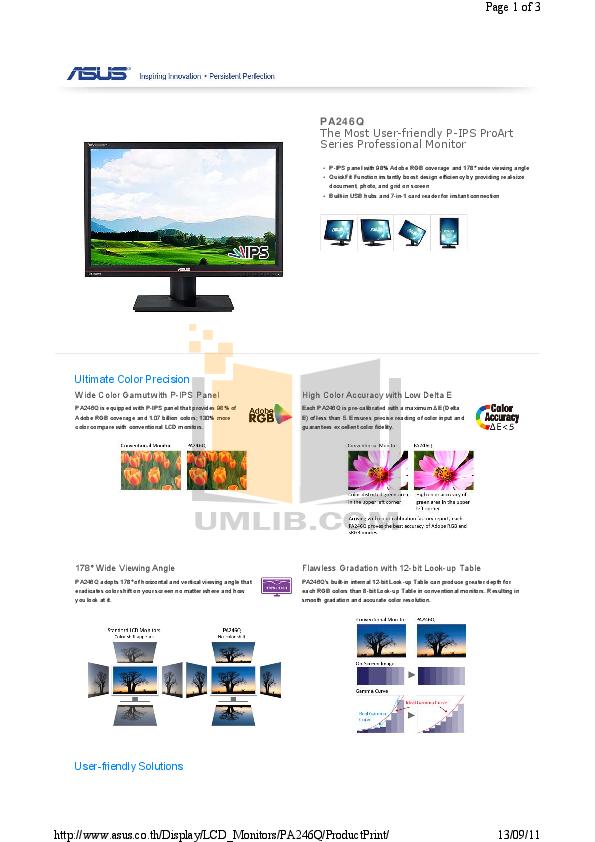 pdf for Asus Monitor PA246Q manual