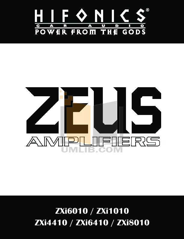 pdf for Hifonics Car Amplifier Zeus ZXI 6010 manual