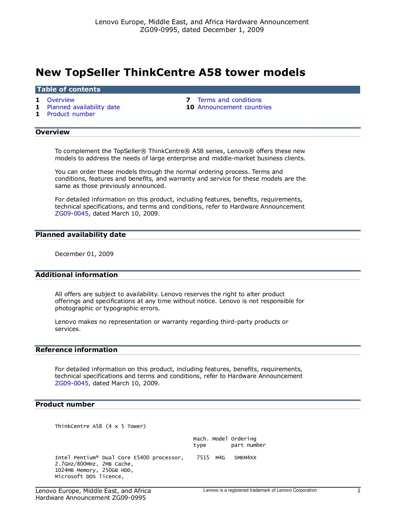 pdf for Lenovo Desktop ThinkCentre A58 7523 manual