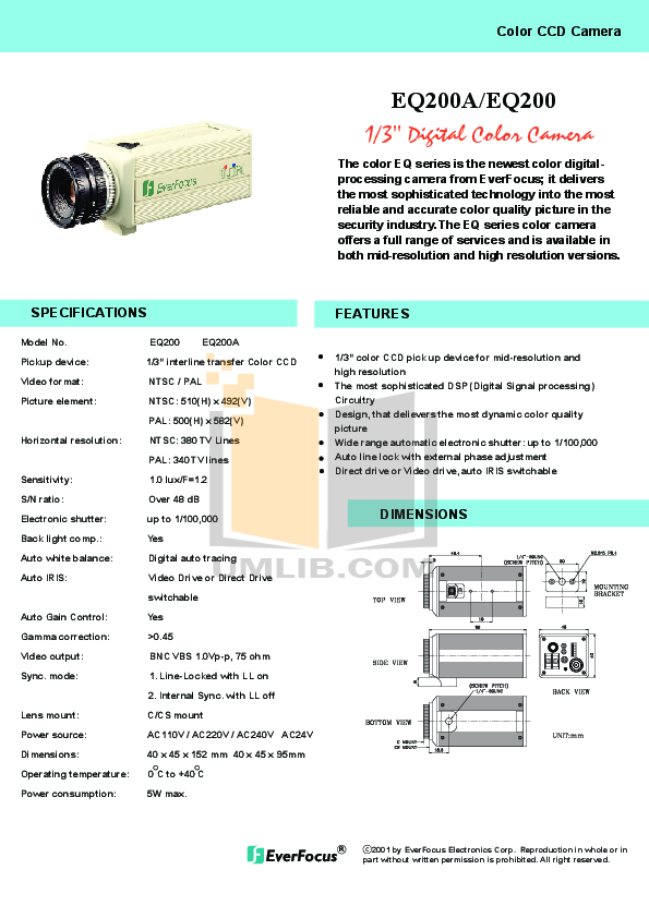 pdf for EverFocus Security Camera EQ200E manual