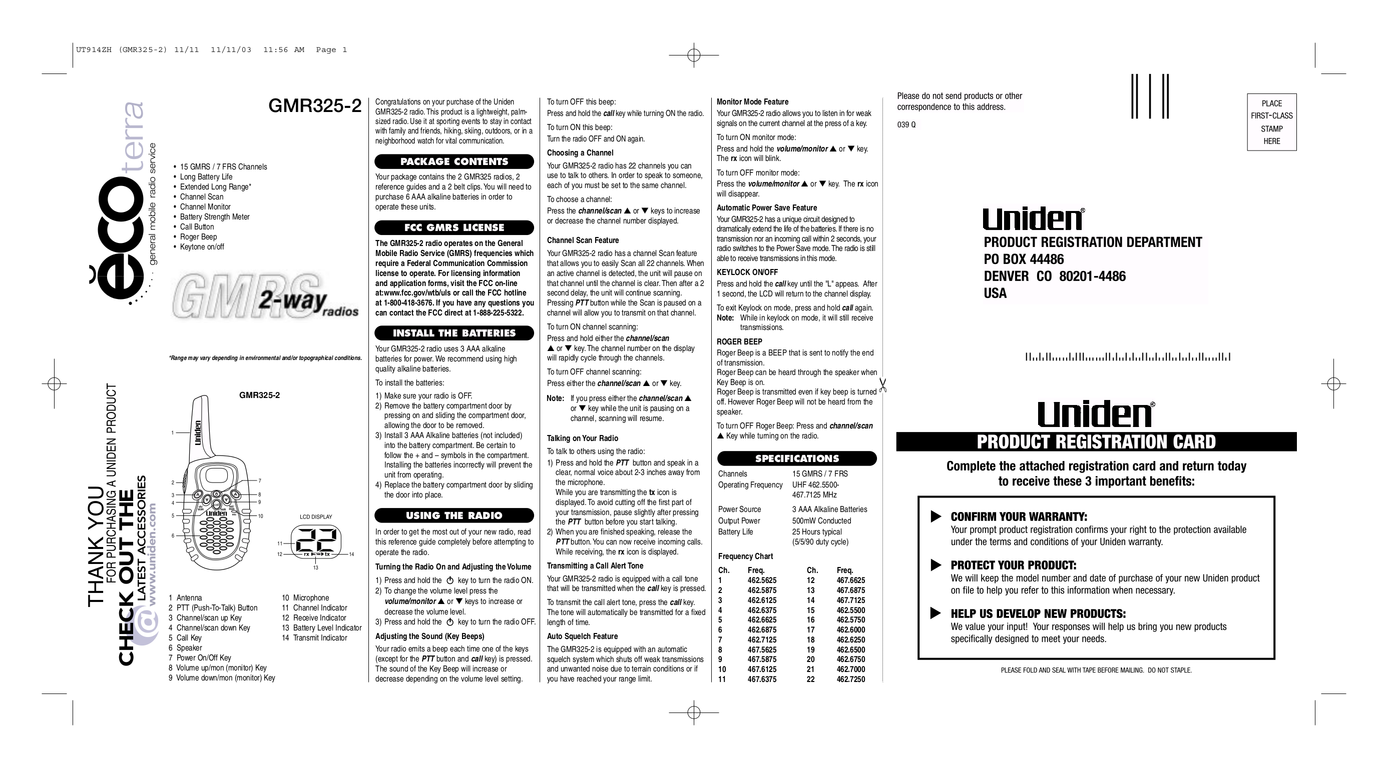pdf for Uniden 2-way Radio GMR325-2 manual