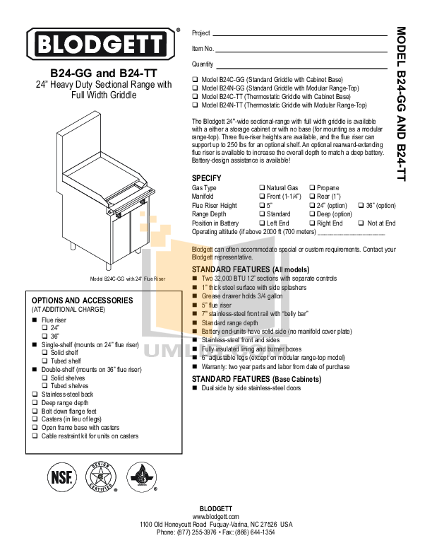 pdf for Blodgett Range B24N-TT manual