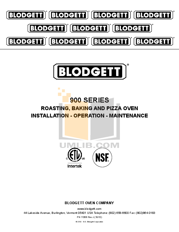 pdf for Blodgett Oven 981 BASE manual