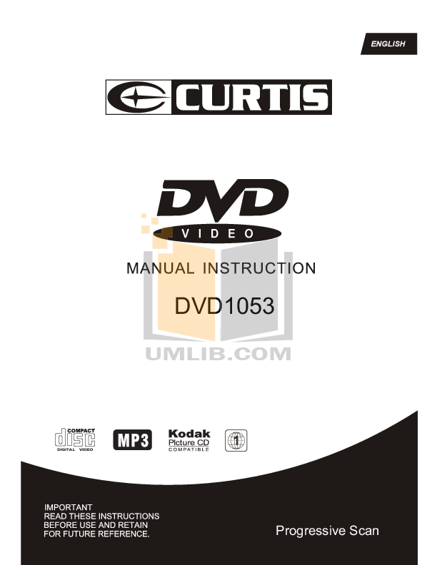 pdf for Curtis DVD Players DVD1053 manual