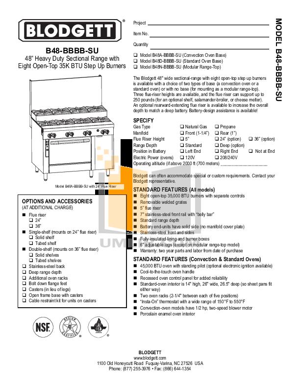 pdf for Blodgett Oven B48N-BBBB-SU manual