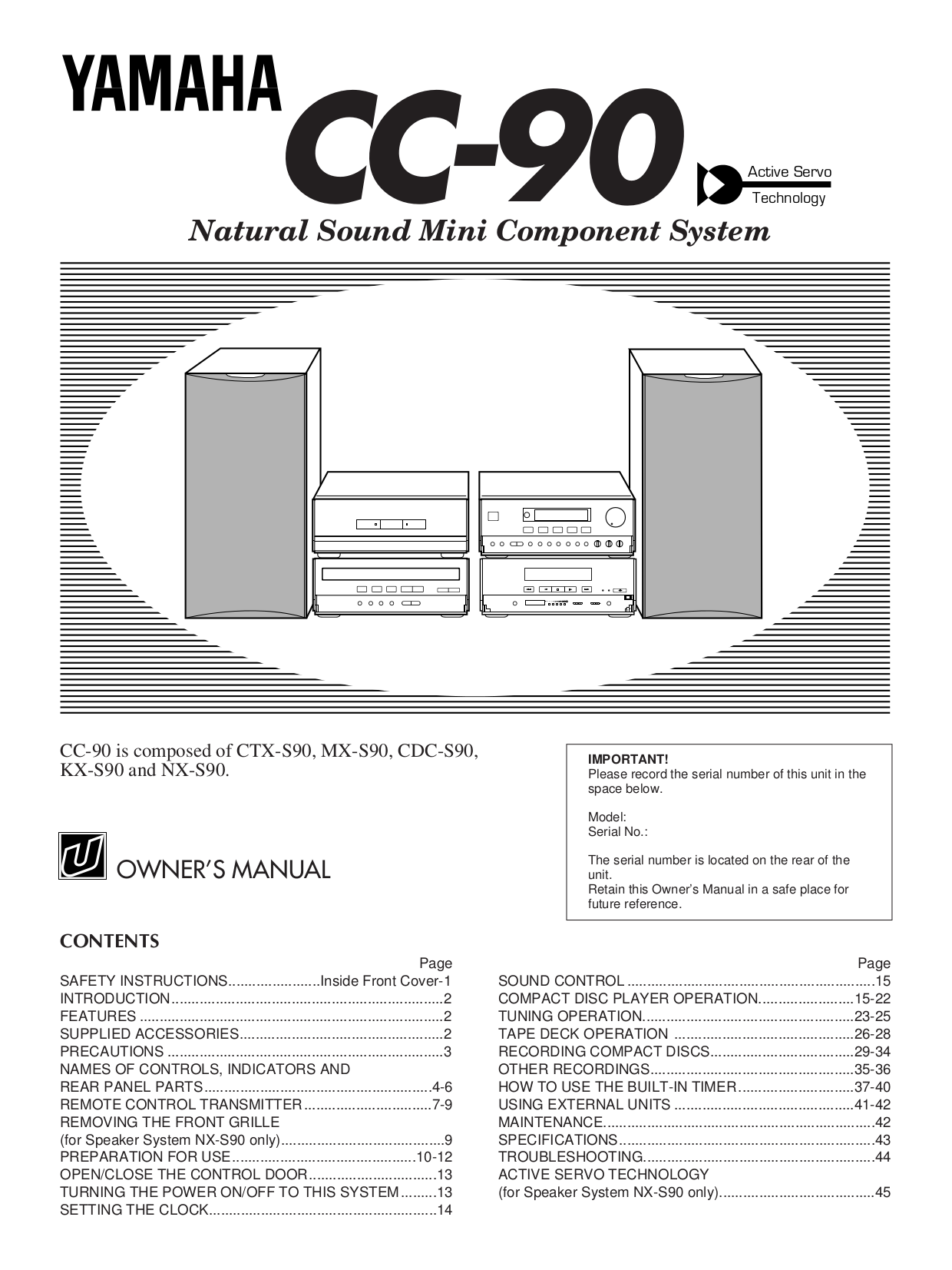 pdf for Yamaha Tape Deck KX-250 manual