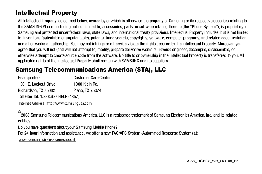 Samsung Cell Phone SGH-A227 pdf page preview