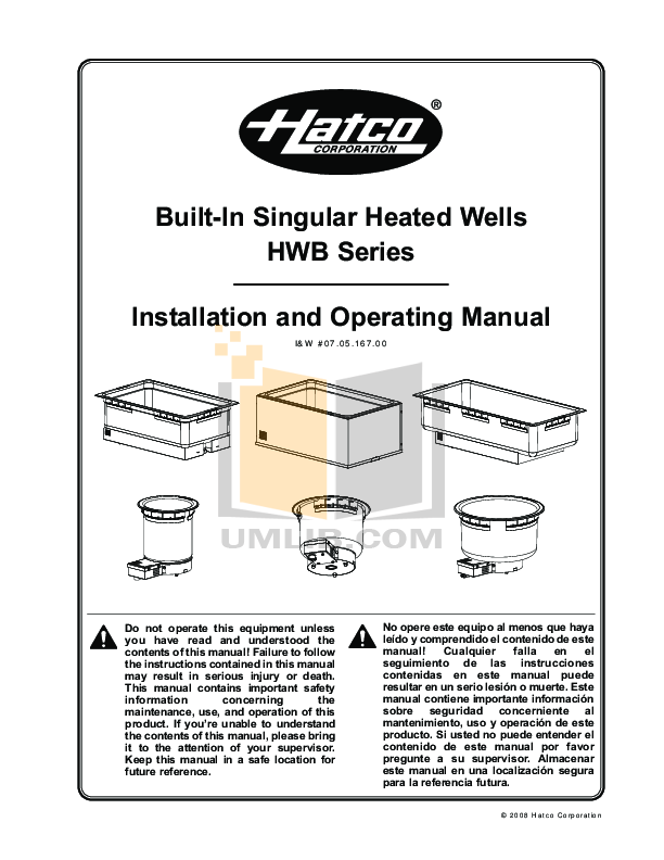 pdf for Hatco Other HWB-43 manual