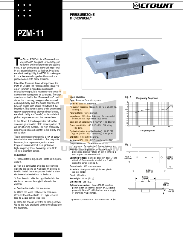 pdf for Crown Other PZM-11 Microphones manual