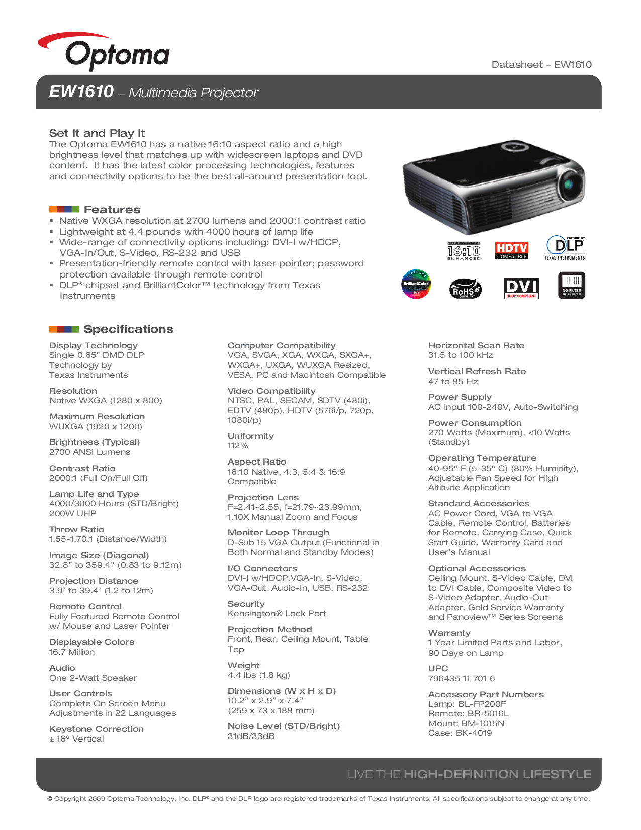 pdf for Optoma Projector EW1610 manual