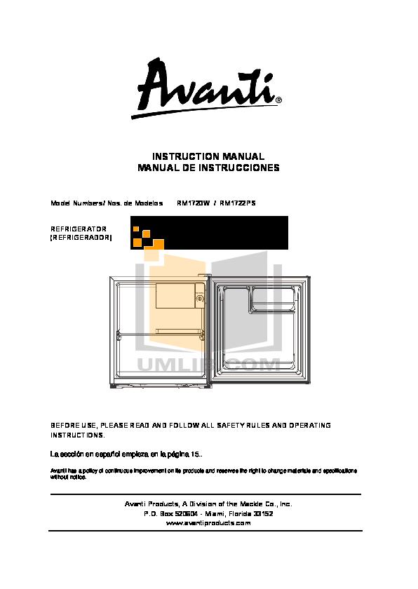 pdf for Avanti Refrigerator RM1720W manual