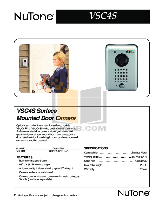 pdf for Broan-NuTone Other VSUC4SK Answering Systems manual