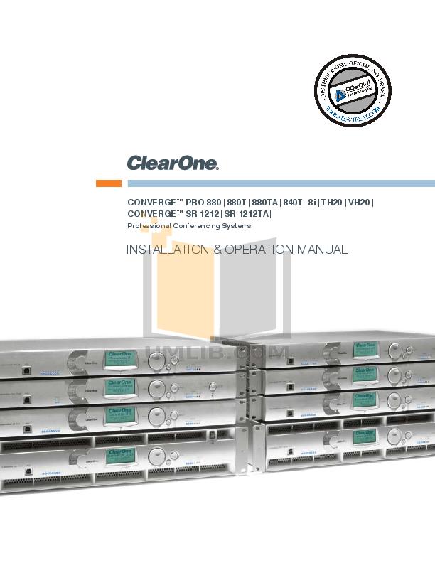 pdf for ClearOne Telephone Converge Pro 8i manual