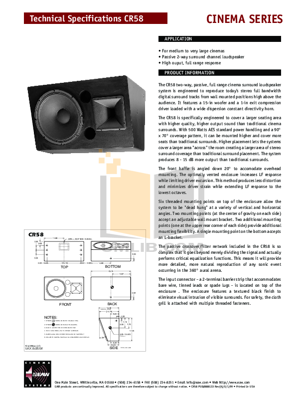 pdf for Eaw Speaker System Cinema CR58 manual