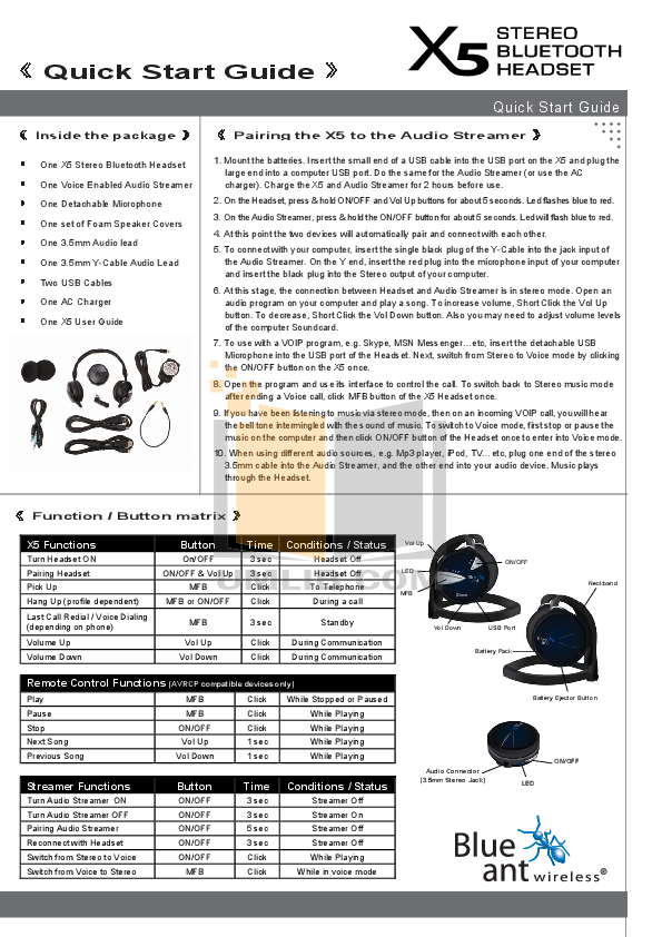 Blueant Headphone X5 pdf page preview
