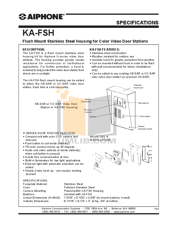 pdf for Aiphone Other KA-DAR Intercoms manual