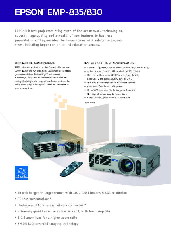 pdf for Epson Projector EMP-835 manual