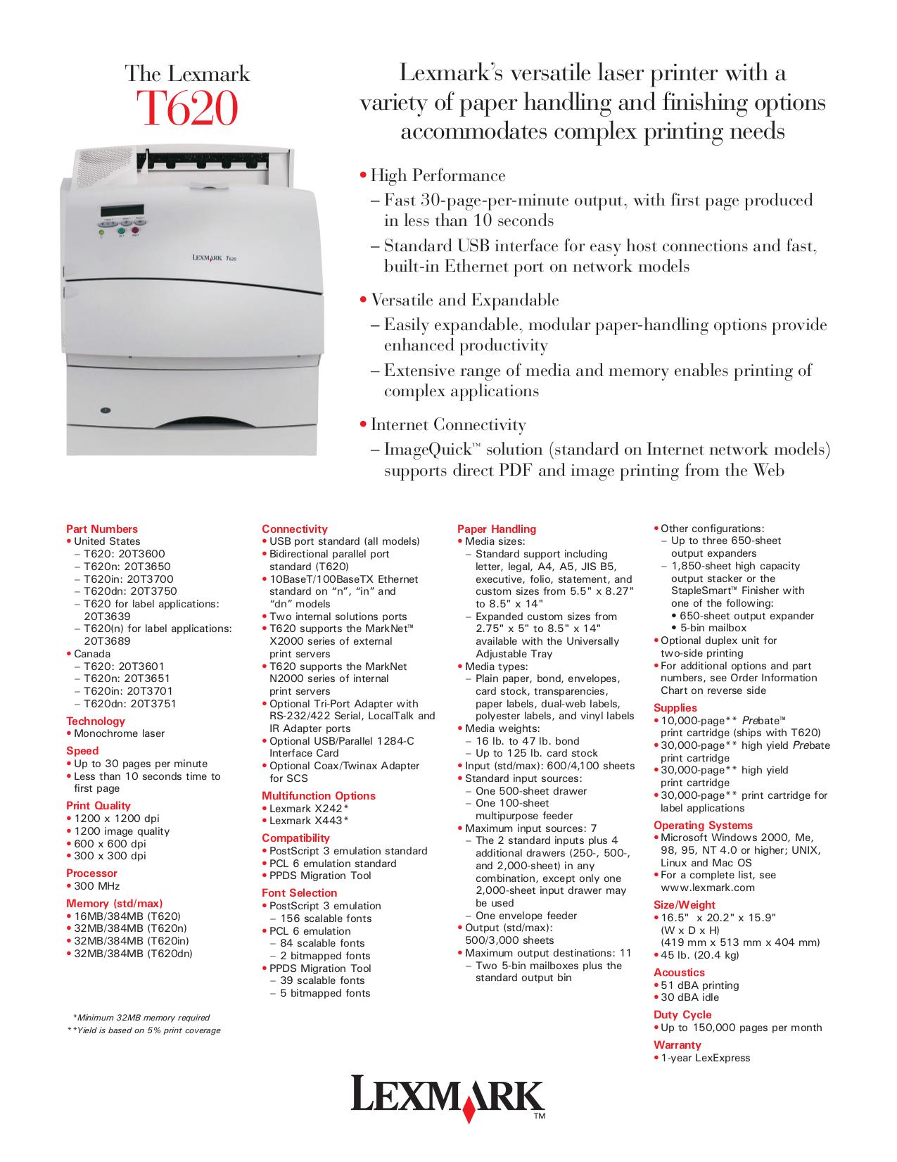 pdf for Lexmark Printer Optra T620n manual