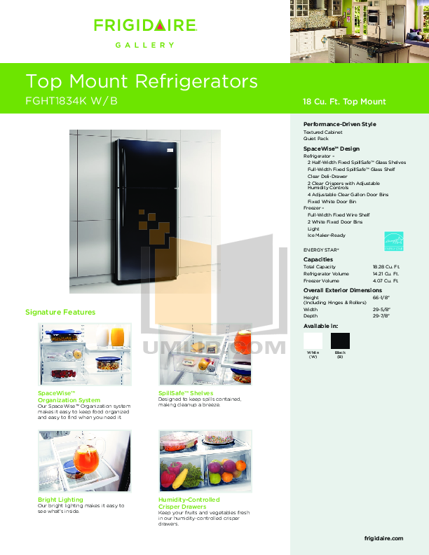 pdf for Frigidaire Refrigerator Gallery FGHT1834K manual