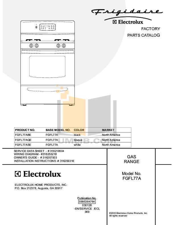 pdf for Frigidaire Range FGFL77ASE manual