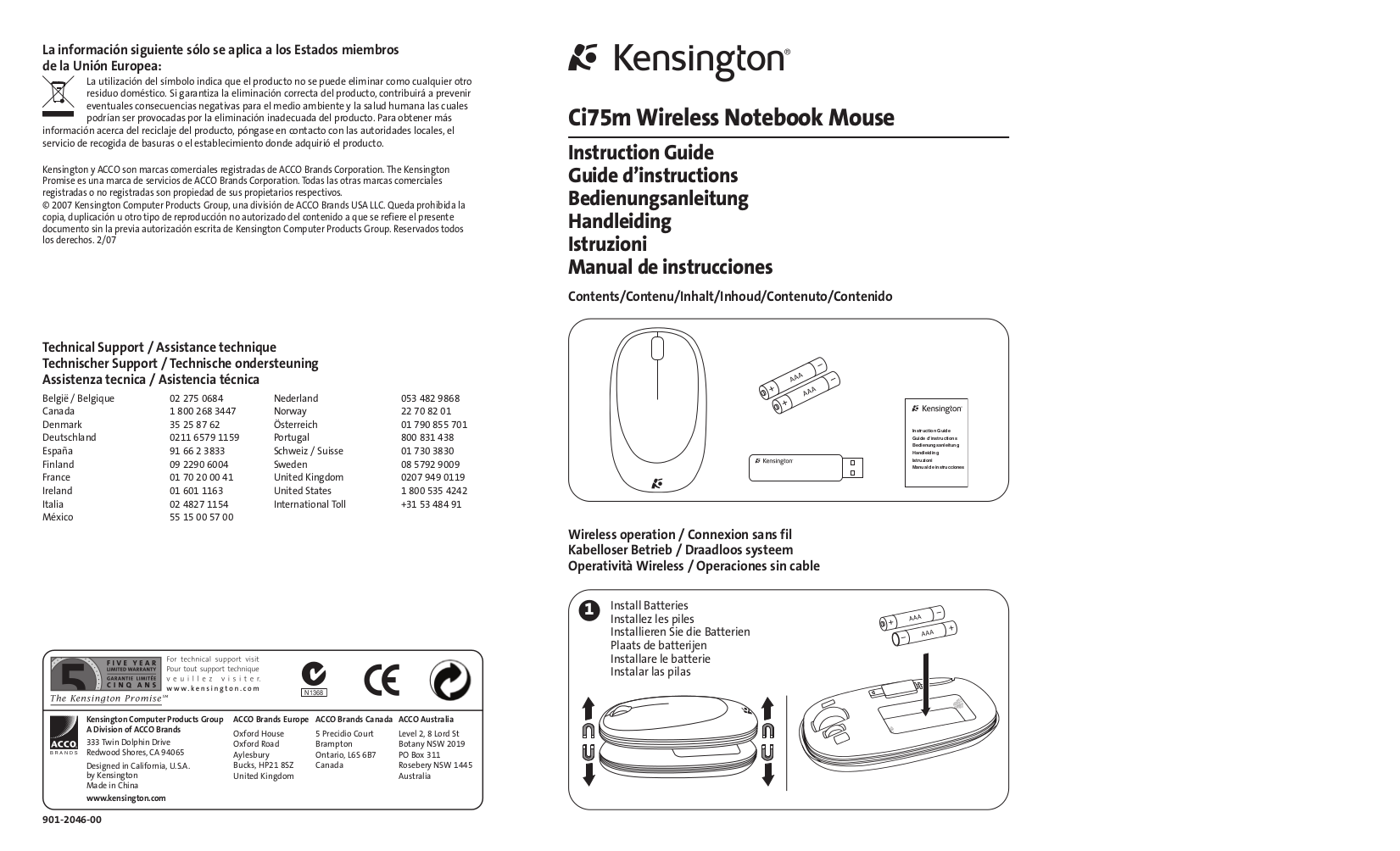 pdf for Kensington Mouse Ci75m manual
