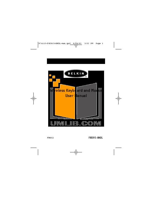 Belkin Keyboard F8E815-BNDL pdf page preview