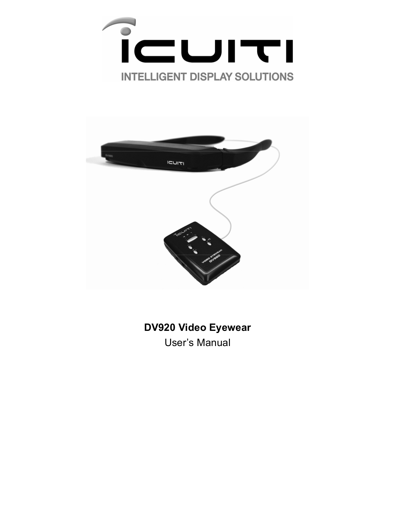 pdf for Vuzix Monitor iWear DV920 manual