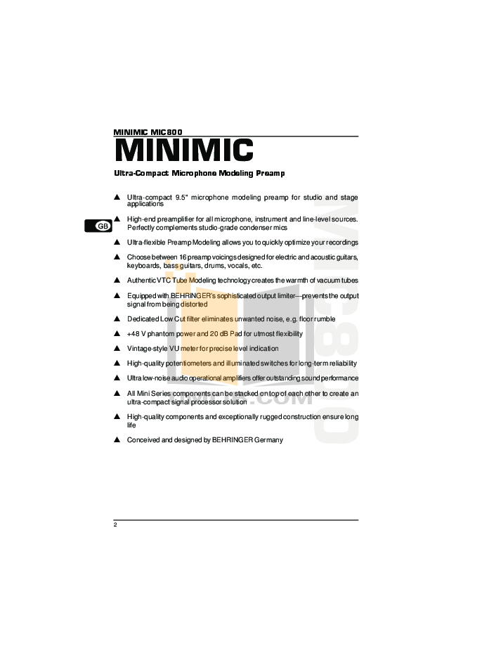 Behringer Amp MIC800 pdf page preview