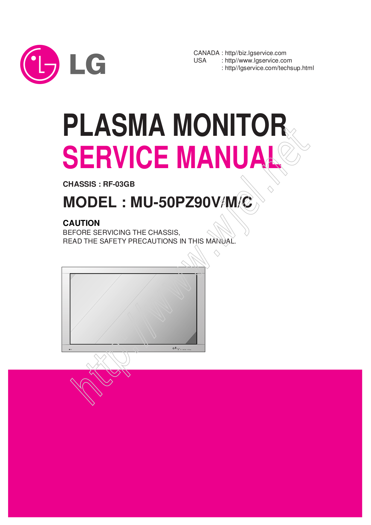 pdf for LG Monitor MU-50PZ90VS manual