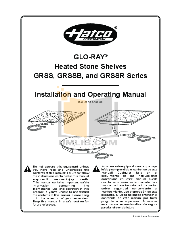pdf for Hatco Other GRSSR-18 manual