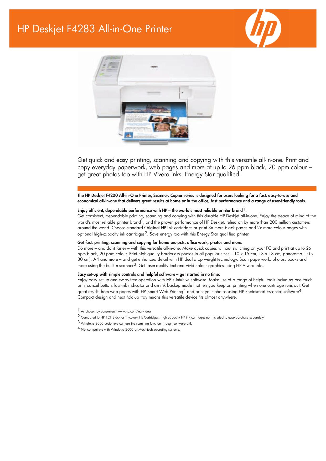 pdf for HP Multifunction Printer Deskjet F4283 manual