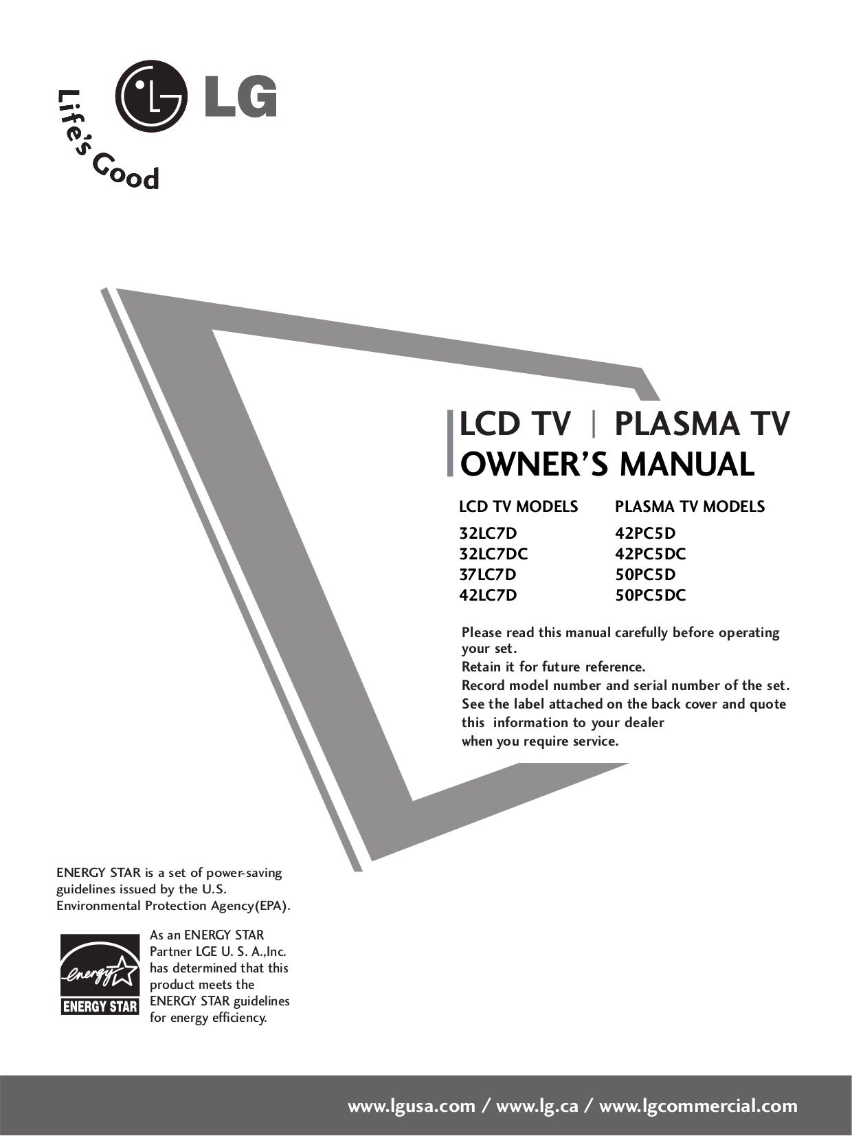 download free pdf for lg 50pc5d tv manual