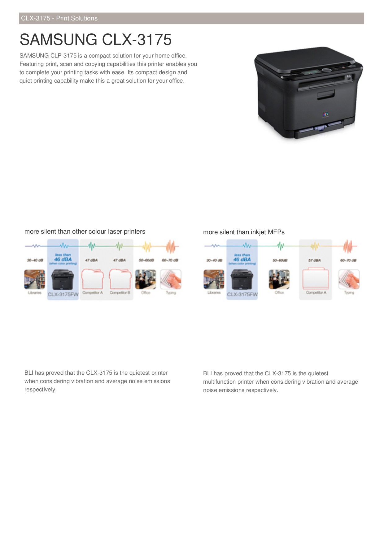 pdf for Samsung Multifunction Printer CLX-3175N manual