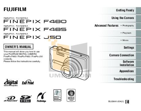 Download free pdf for fujifilm finepix j50 digital camera manual.