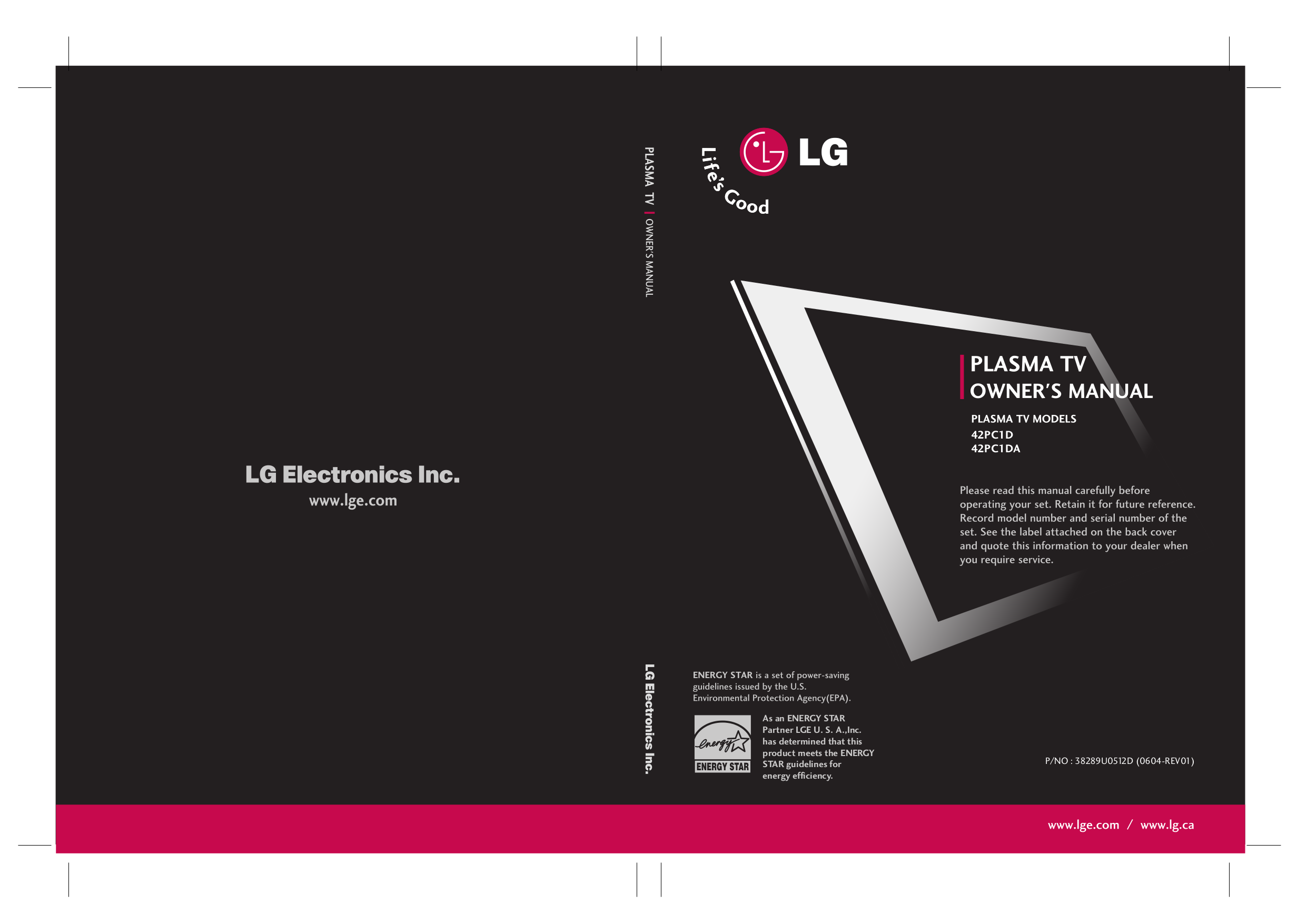 pdf for LG TV 42PC1DA manual