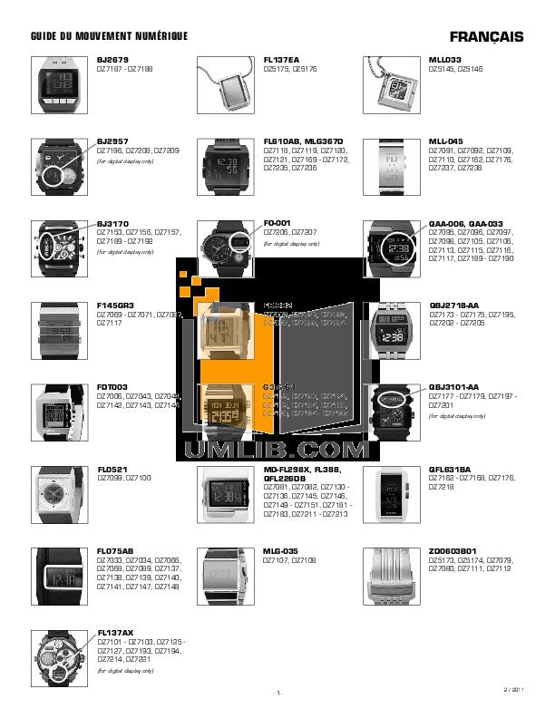 pdf for Diesel Watch DZ7175 manual