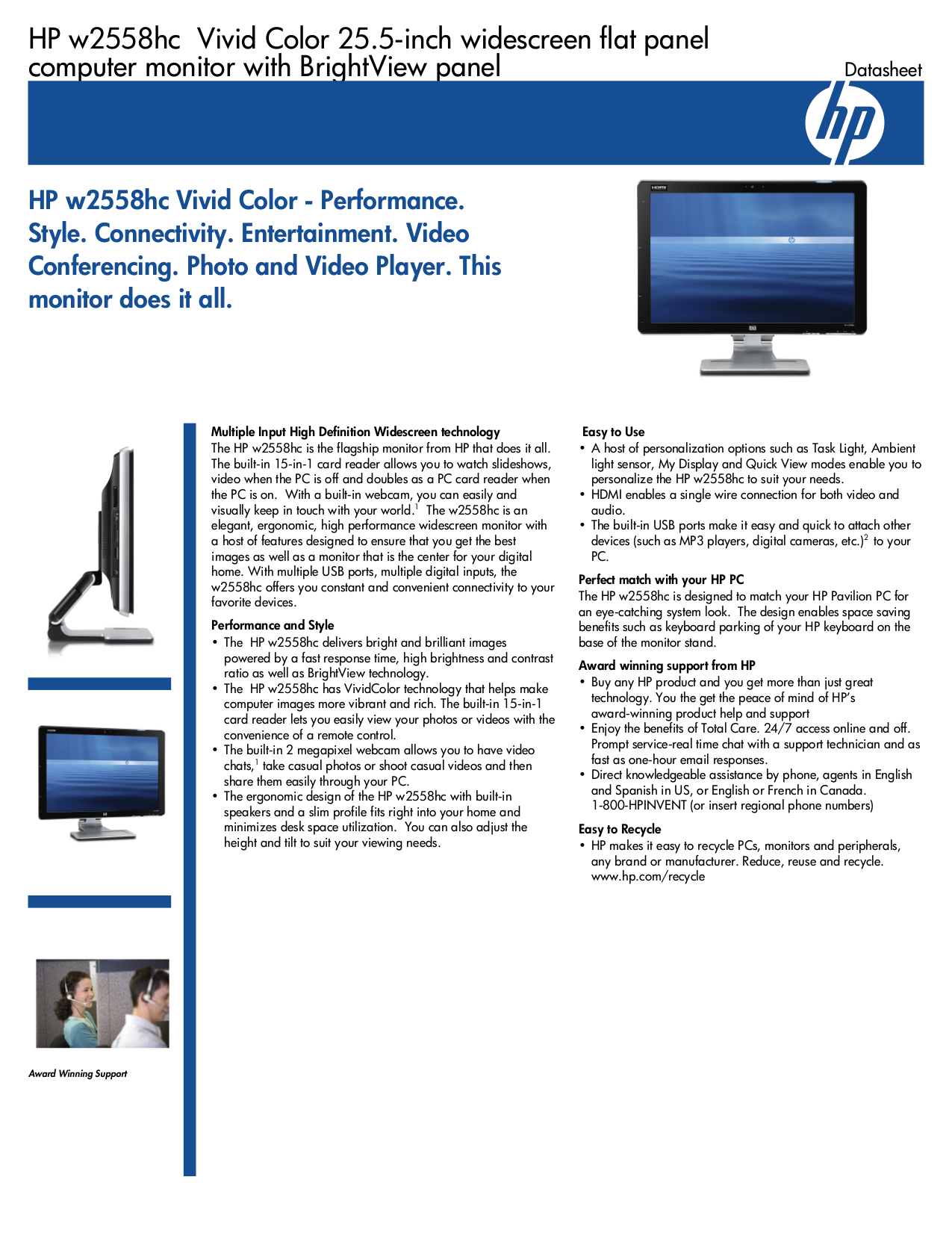 Download free pdf for HP Pavilion W2558HC Monitor manual